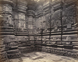 Views in Mysore. Bailoor Temple [Chennakeshava Temple, Belur]. Detail of carvings on west side